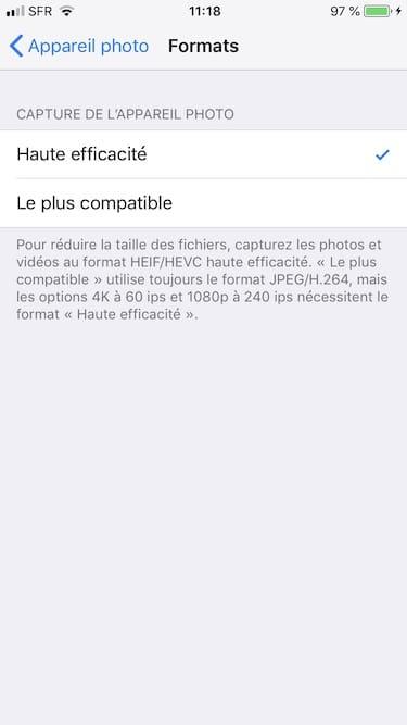 Toma fotos en JPEG en iPhone en lugar de en HEIF 4