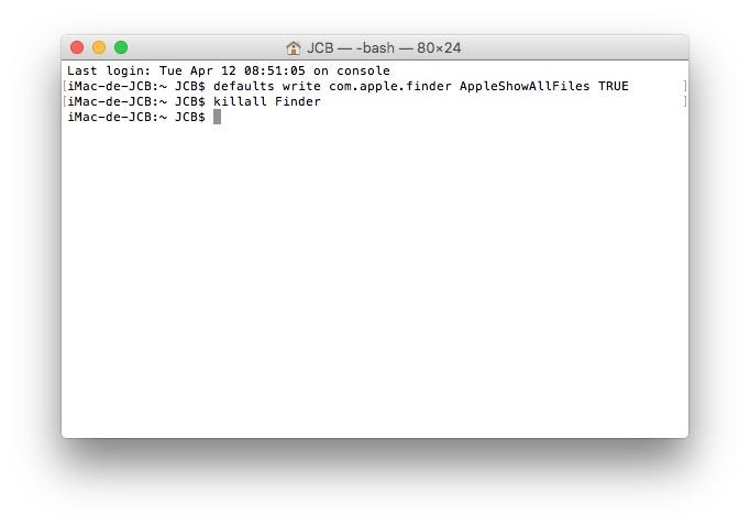 Mostrar archivos ocultos Mac OS X El Capitan (10.11) 1