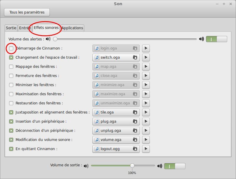 Eliminar el sonido cuando se conecta a Linux Mint Cinnamon