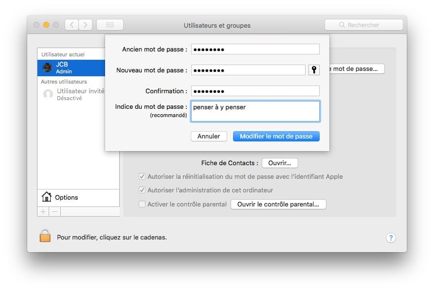 Cambiar la contraseña de tu Mac (macOS / Mac OS X) 3