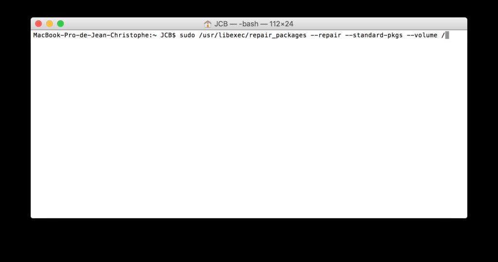 Reparar los permisos de El Capitan con el Terminal (OS X 10.11) 3