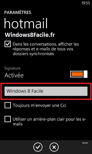Windows Phone: desactivar la firma automática en los correos electrónicos 7