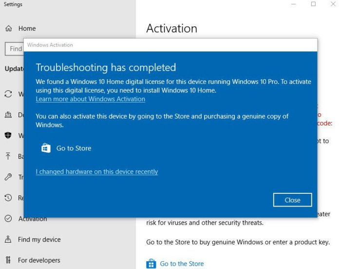 Microsoft reduce Windows 10 Pro a Home después de un error en la activación. 2