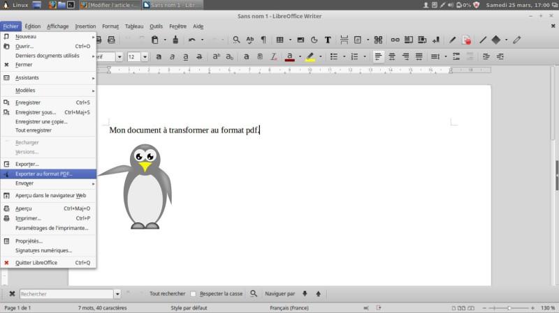 Guarde su documento en formato PDF en Linux 9
