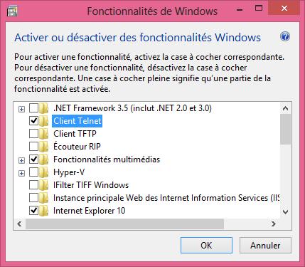 Instalar el cliente Telnet en Windows 8 y 8.1 4