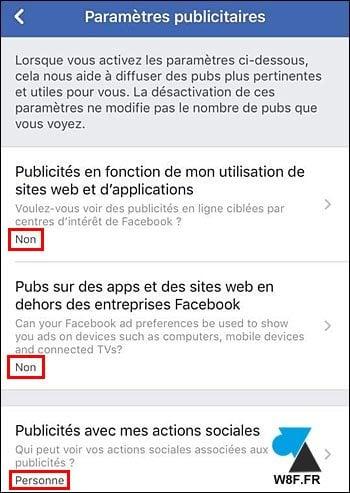Facebook móvil: desactivar el seguimiento de anuncios