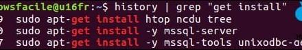 Linux: búsqueda en el historial de pedidos