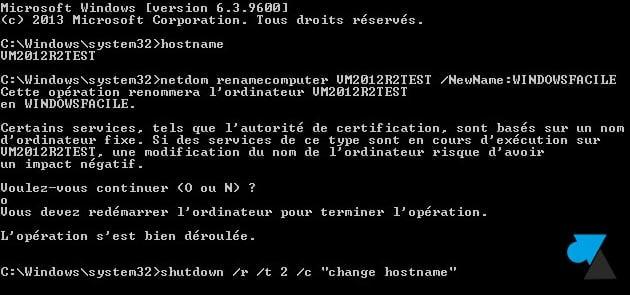 Windows Server 2012 / R2: cambiar el nombre del equipo a una línea de comandos