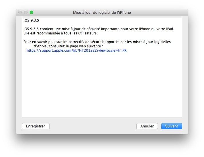 iOS 9.3.5 : actualización para iPhone, iPad, iPod touch