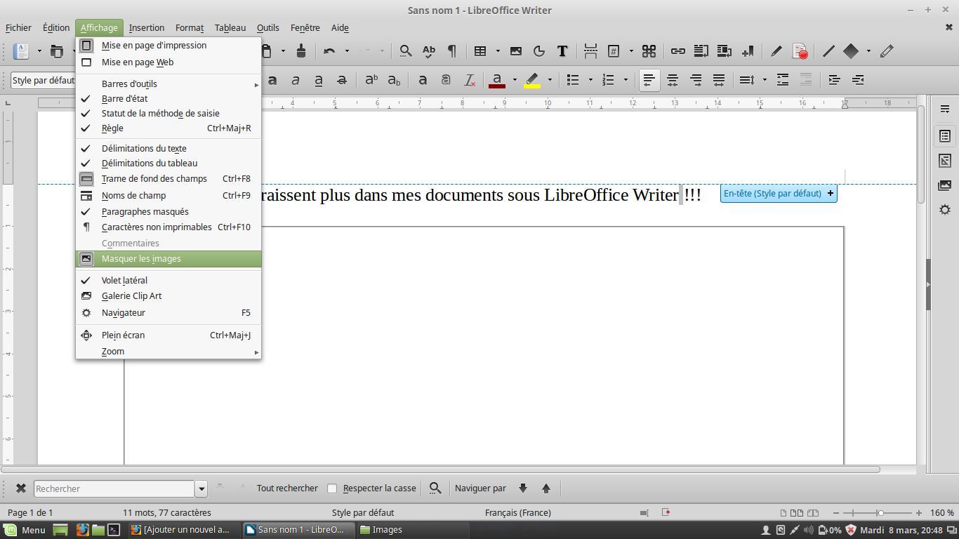 Mis imágenes ya no aparecen en mis documentos en LibreOffice Writer
