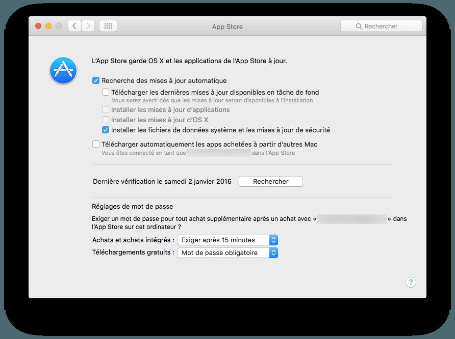 Mac App Store: configuración bajo OS X El Capitan (10.11)