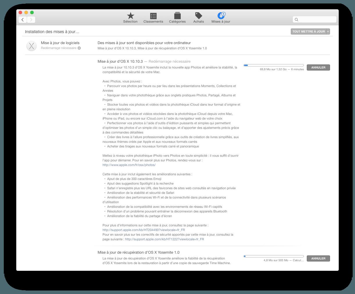 Nueva actualización de Mac OS X Yosemite 10.10.3