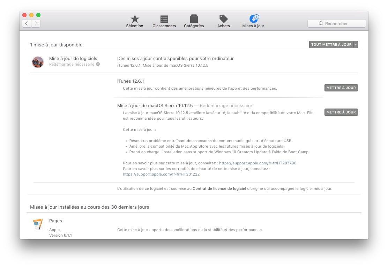 macOS Sierra 10.12.5 : actualización disponible