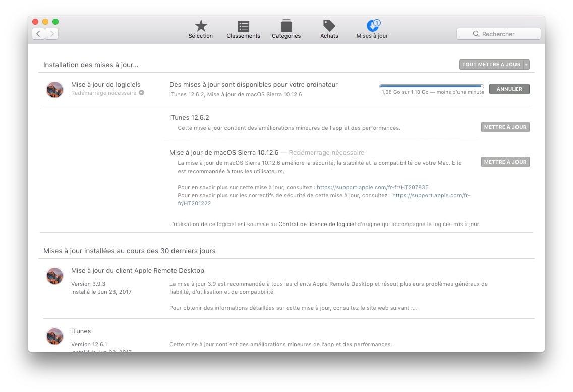 macOS Sierra 10.12.6: actualización disponible