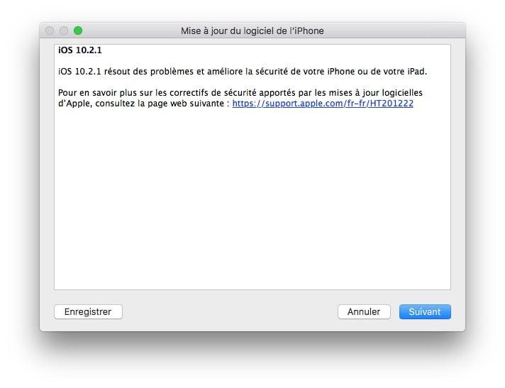 iOS 10.2.1 : actualización para iPhone, iPad e iPod 3