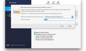 Formato bajo macOS High Sierra (10.13) : HFS+, APFS, FAT32, NTFS, Ext4