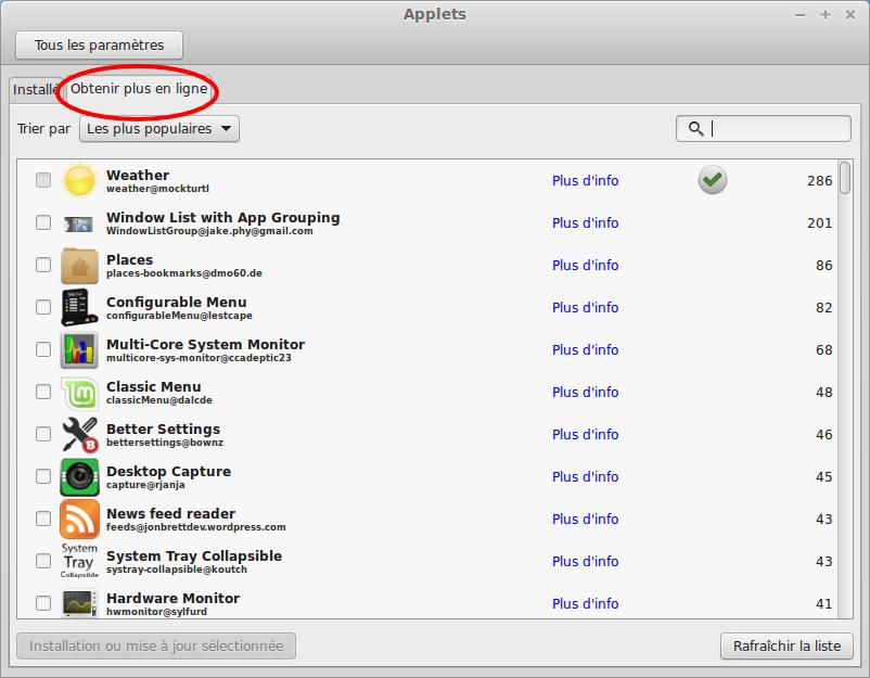 Añade un applet al panel de control de linux Mint