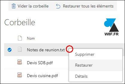Recuperación de un archivo eliminado en OneDrive