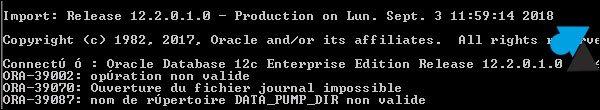 Oracle: configurar el directorio data_pump_dir (ORA-39087)