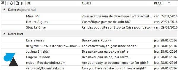 Outlook 2013: desactivar la vista previa de la lista de correo electrónico
