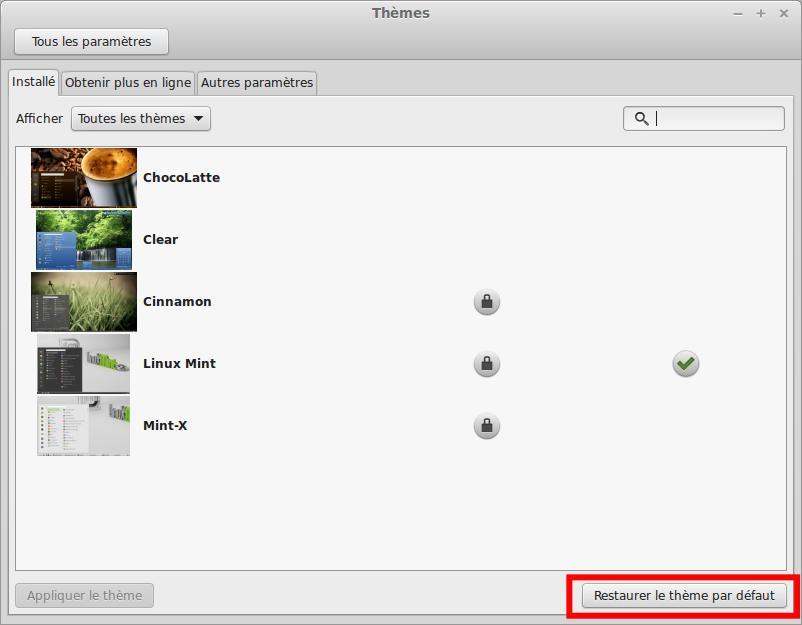 Restaurar el tema predeterminado de Linux Mint