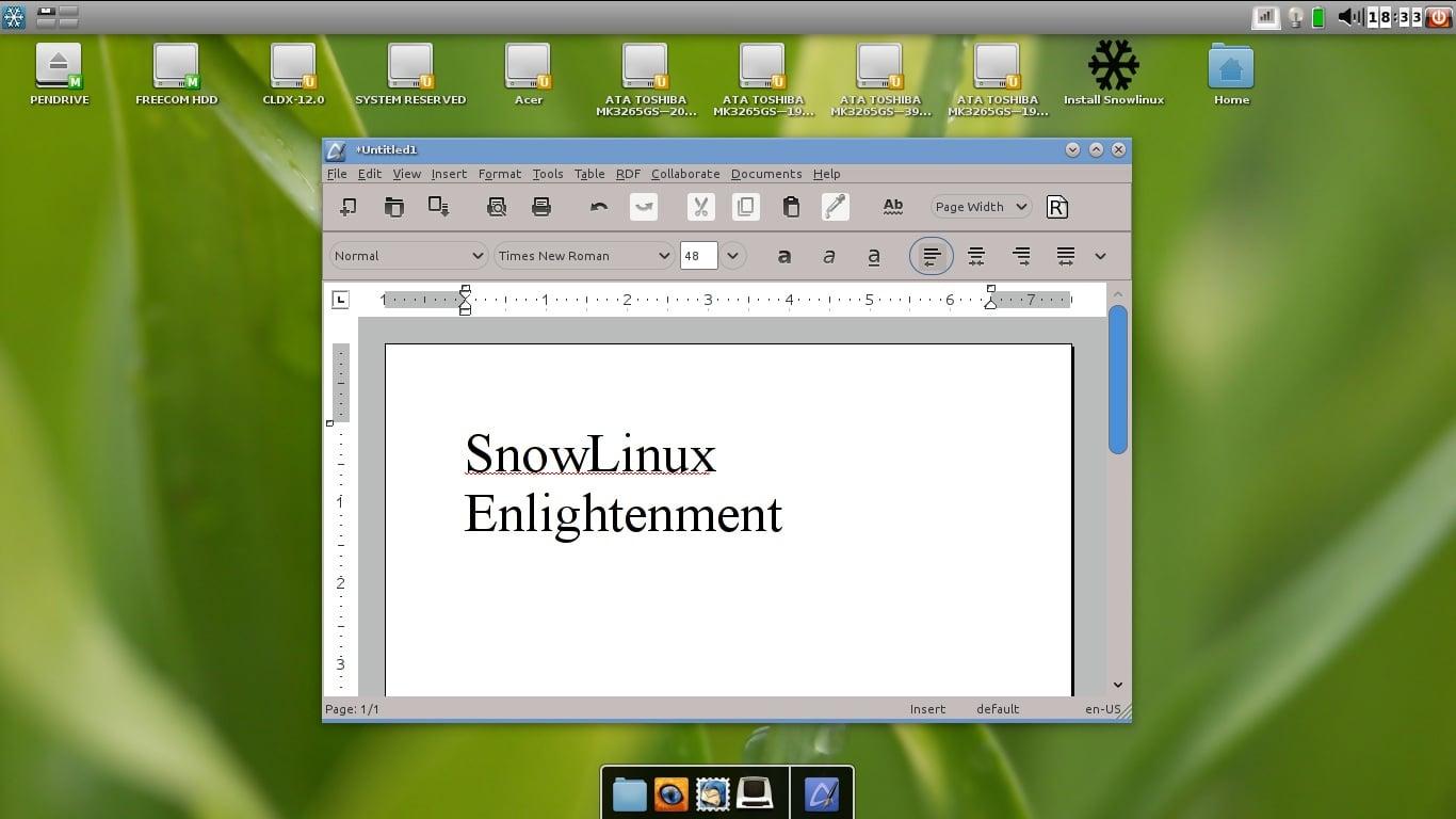 Una distribución con Enlightenment, SnowLinux