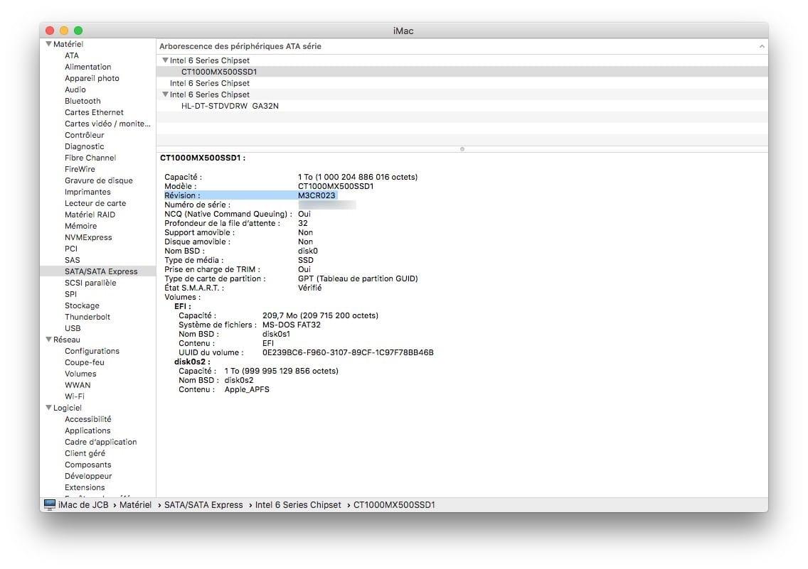 Actualización del firmware de una unidad SSD en Mac