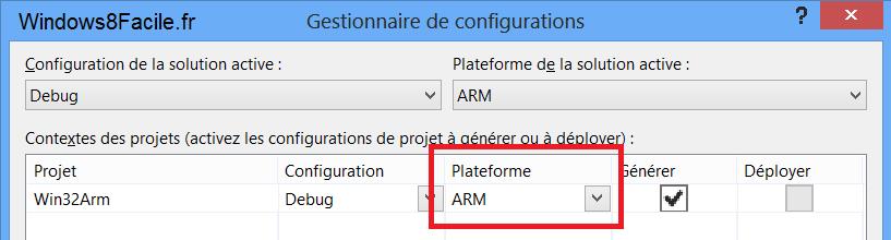Visual Studio 2012: habilitar la compilación de Win32 ARM para Windows 8 RT