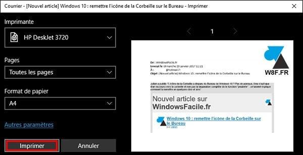 Windows 10 mail: imprimir un correo electrónico