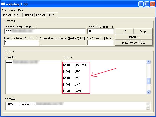 Webshag: lista todos los directorios de un servidor web