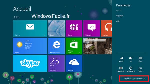 Windows 8: mostrar la barra de encanto (menú de la derecha)