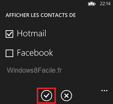 Windows Phone: ocultar contactos de Facebook