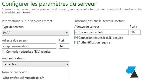 Windows Live Mail: agregar una dirección numericable