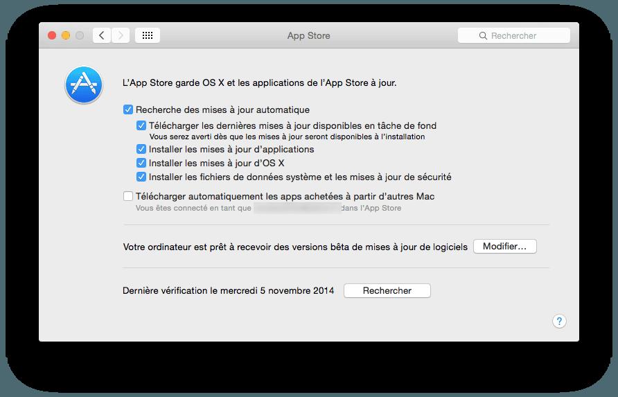 Habilitar la actualización automática de Mac OS X X X Yosemite