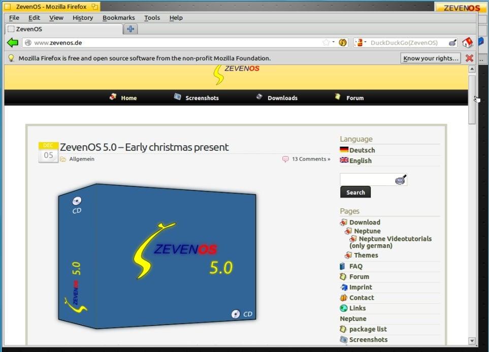 ZevenOS en la versión 5.0