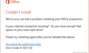 Office no pudo instalar los códigos de error 0-1011, 30088-1015, 30183-1011 o 0-1005.