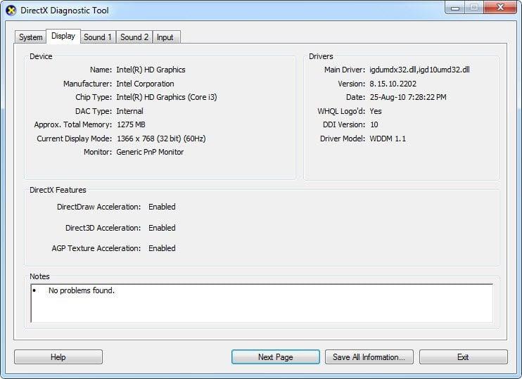 Diagnosticar y solucionar problemas con DirectX Diagnostic Tool (dxdiag) 2