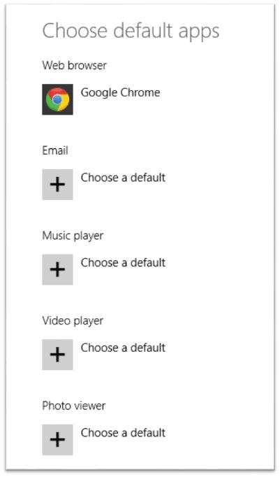 Cambiar o establecer programas y aplicaciones predeterminados en Windows 8.1 4