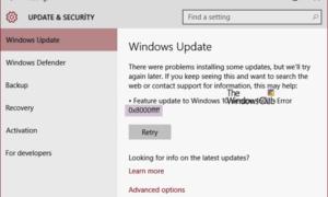 Corregir error de Windows Update 0x8000FFFF