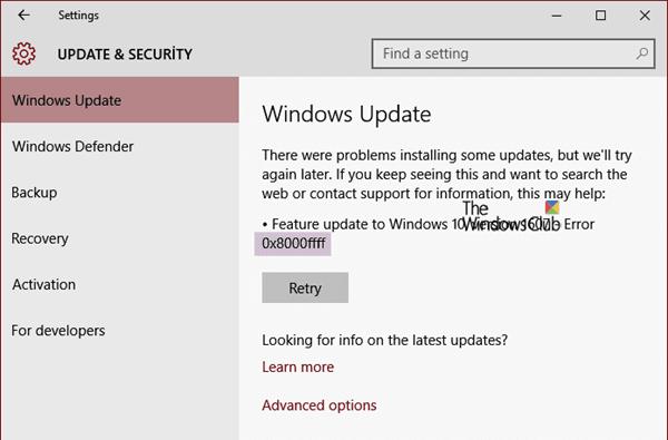 Corregir error de Windows Update 0x8000FFFF 1
