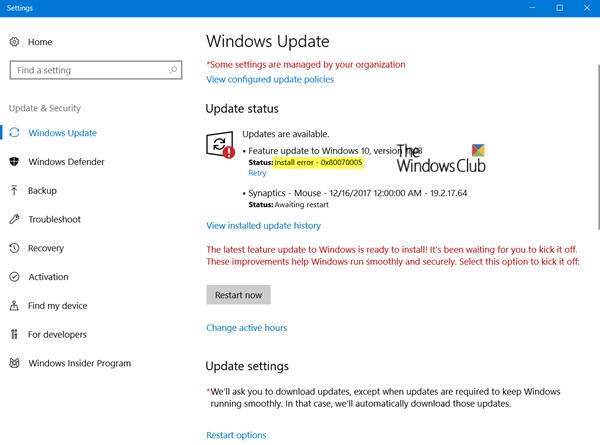 Corregir error de instalación de Windows Update 0x80070005