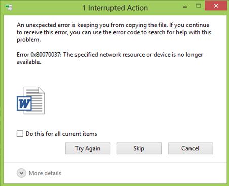 Error 0x80070037: El recurso o dispositivo de red especificado ya no está disponible