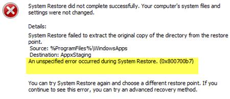 Se ha producido un error no especificado durante la restauración del sistema (0x800700b7) 1