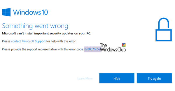 Fijar Windows 10 Update Error 0x80070652