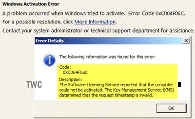 Error 0xC004F06C, KMS determinó que la marca de tiempo de la solicitud no es válida.