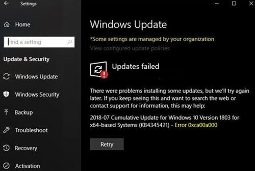La actualización de Windows 10 no pudo instalar el error 0xca00a000