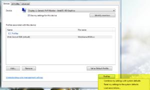 Cómo asociar Perfiles de color con un dispositivo en Windows 10/8/7