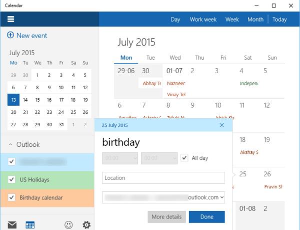 Cómo usar la aplicación Calendario de Windows 10