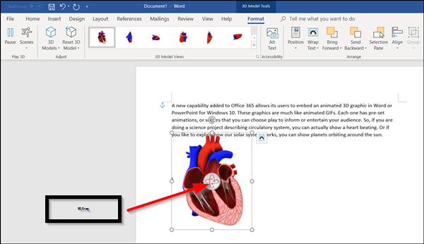 Cómo añadir gráficos 3D animados a Microsoft Word en Windows 10