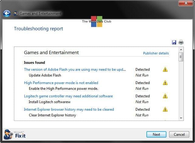 Solucionador de problemas de juegos y entretenimiento de Microsoft